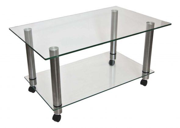 столик из стекла и метала