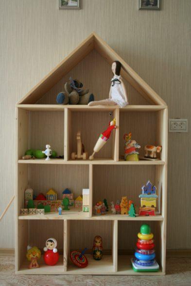 Детская мебель стеллаж-домик для игрушек