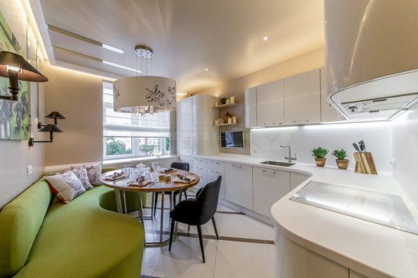 Дизайн интерьера угловой кухни с диваном 13 кв. м