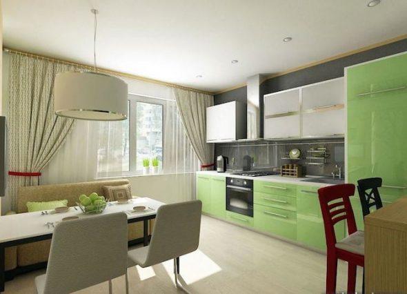Дизайн кухни с диваном нежного цвета