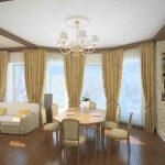 Дизайн кухни, столовой и гостиной в стиле прованс