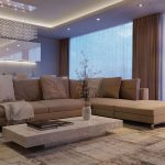 коричневый диван в роскошной гостиной