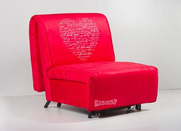 Кресло-кровать красного цвета