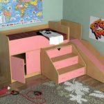 Кровать чердак с рабочей зоной Кузя