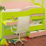 Кровать в зеленом цвете