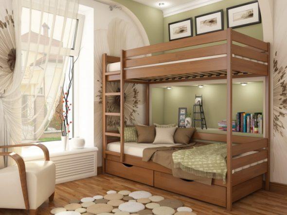 кровати из дерева в детской