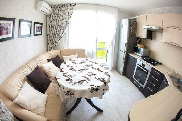 Кухня 9 кв м с диваном дизайн
