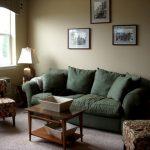 зеленый диван в небольшой гостиной