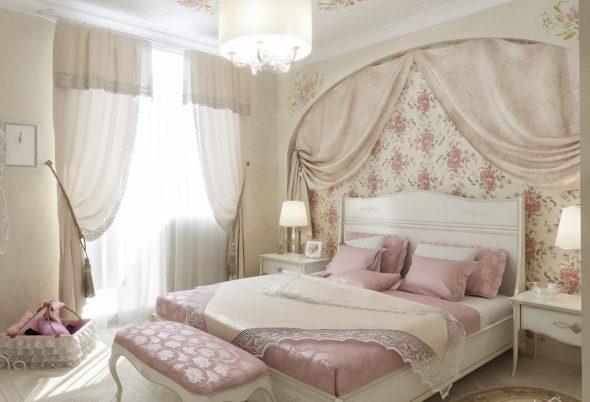 кровать в спальне прованс