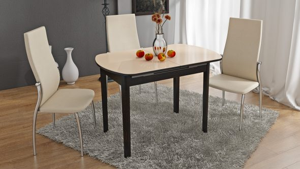Стол обеденный раздвижной со стеклом на деревянных ножках