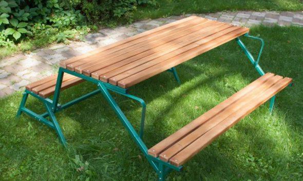 Стол-скамейка-дерево+метал