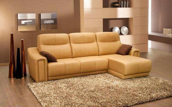 диван с экокожи в интерьере