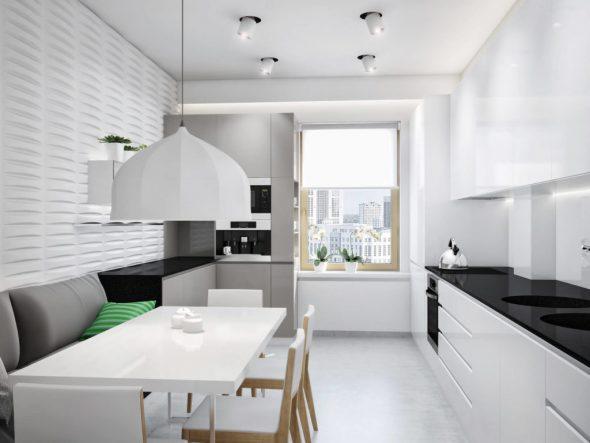 диван в кухни в стиле минимализм