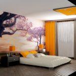кровать в спальне фотообои