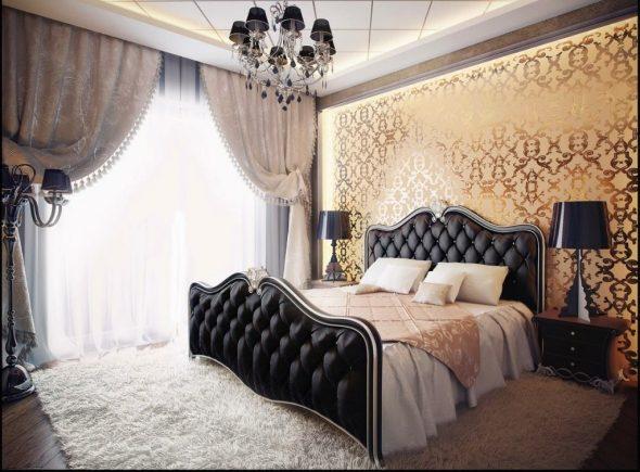 кровать с обивкой