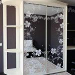 двери шкаф-купе, зеркало с рисунком