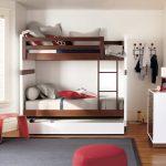 двухъярусная кровать бело коричневая