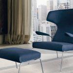 кресло английское синее