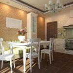 кухня с диваном в зеленую полоску