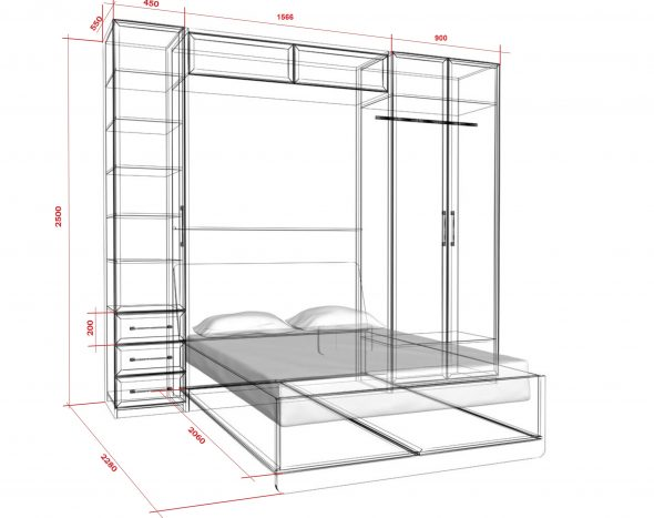 чертеж кровати