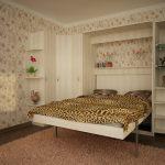кровать шкаф в светлой спальне