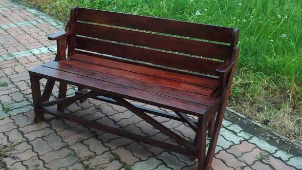 стол скамейка трансформер темного цвета