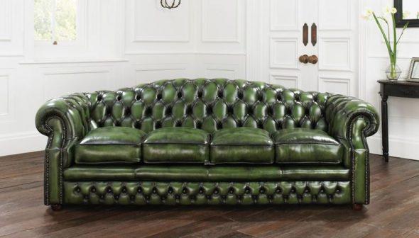 кожаный зеленый диван