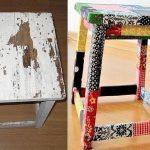Декор стула кусочками ткани