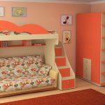 Детская двухъярусная кровать в дизайне комнаты