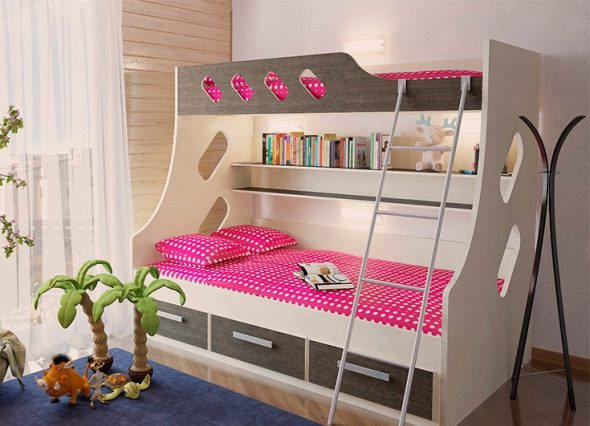 Детские двухъярусные кровати для девчонок