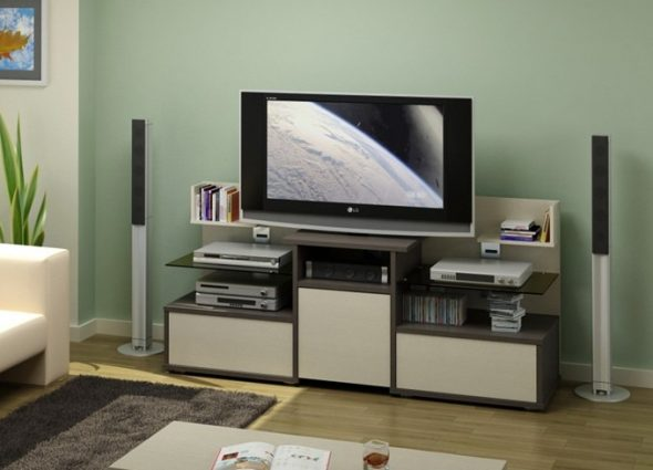 Длинная тумба под телевизор с большим экраном