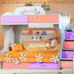 Двухъярусная кровать с диваном детям от 3 лет