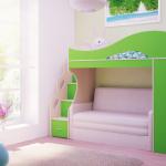 Двухъярусная кровать с диваном-дизайн