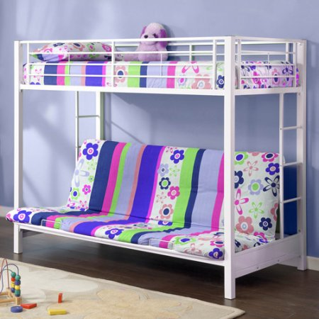 Двухъярусная кровать с диваном для детской комнаты девочки