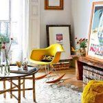кресло качалка желтого цвета