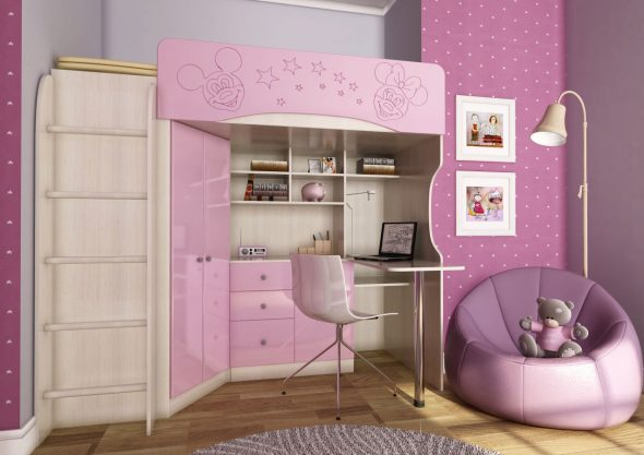 Кровать чердак для девочки