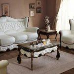 Мебельный гарнитур из светлой кожи