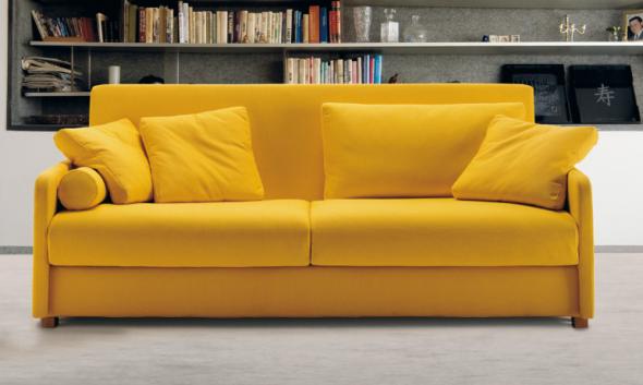 Необычный механизм современного желтого дивана