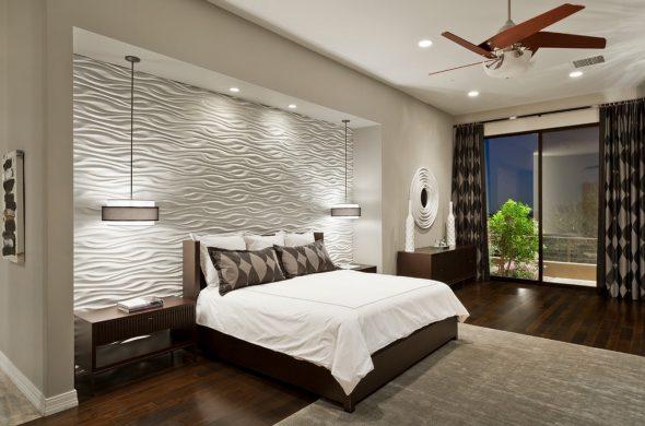 Практичный дизайн спальни с нишей