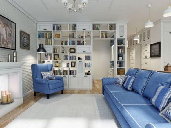 Синяя мебель в интерьере гостиной