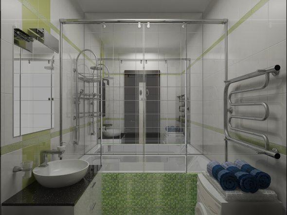 большое зеркало на стене ванной