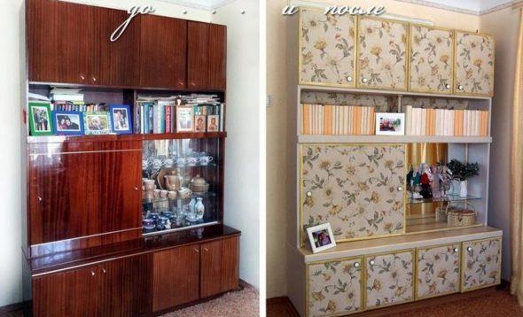 декор мебели остатками обоев