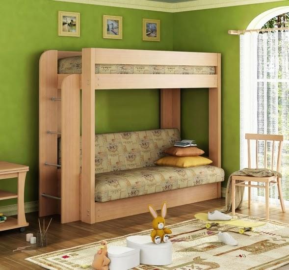 двухъярусная кровать-диван, где нижний ярус обычный детский диван