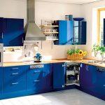 угловая кухня синяя