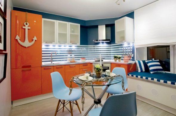 угловая кухня в морском стиле