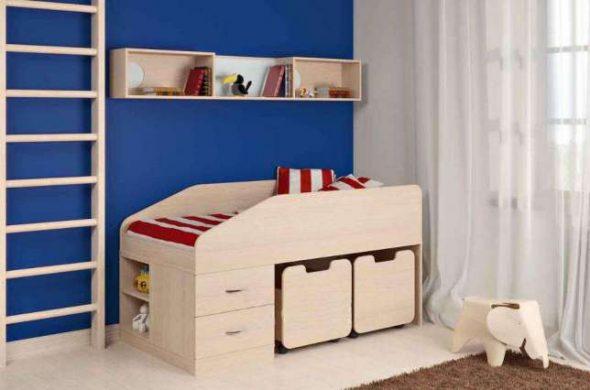 Детская кровать-чердак с ящиками для игрушек