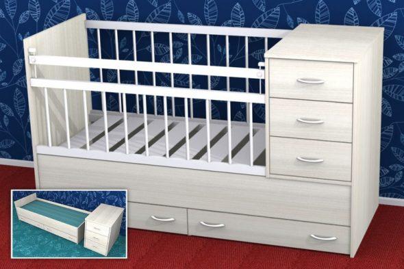 Детская кровать-трансформер Малютка