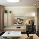 Дизайнерский интерьер однокомнатной квартиры для молодой пары