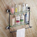 Двойной уровня стеклянная полка для ванной комнаты