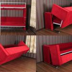 диван трансформер в двухъярусную кровать красного цвета